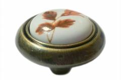 Ручка-кнопка фарфор бронза роза