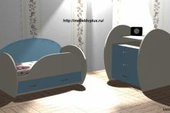 Детская кровать + комод голубой