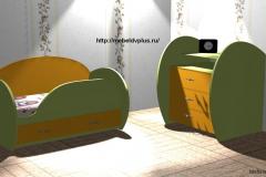 Детская кровать + комод жёлтый,зелёный