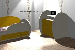Детская кровать + комод жёлтый
