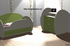 Детская кровать + комод зелёный