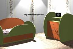 Детская кровать + комод оранжевый,зелёный